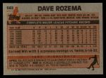 1983 Topps #562  Dave Rozema  Back Thumbnail