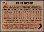 1983 Topps #690  Kent Hrbek  Back Thumbnail