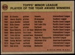1972 Topps #624   Minor League Player of the Year Award Back Thumbnail