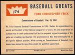 1960 Fleer #74  Ford Frick  Back Thumbnail