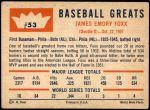 1960 Fleer #53  Jimmie Foxx  Back Thumbnail