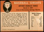 1961 Fleer #81  Dazzy Vance  Back Thumbnail
