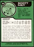 1977 Topps #36  Scott May  Back Thumbnail