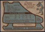 1979 Topps #211  Pierre Mondou  Back Thumbnail