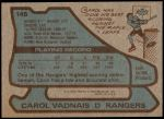 1979 Topps #145  Carol Vadnais  Back Thumbnail