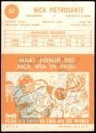 1963 Topps #27  Nick Pietrosante  Back Thumbnail