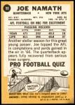 1967 Topps #98  Joe Namath  Back Thumbnail