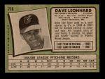 1971 Topps #716  Dave Leonhard  Back Thumbnail