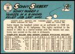 1965 Topps #96  Sonny Siebert  Back Thumbnail