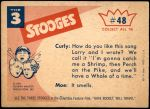 1959 Fleer Three Stooges #48   Larry Plays by Ear  Back Thumbnail