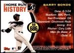 2005 Topps Barry Bonds HR History #686   -  Barry Bonds Home Run 686 Back Thumbnail