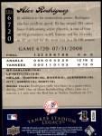2008 Upper Deck Yankee Stadium Legacy #6720  Alex Rodriguez  Back Thumbnail
