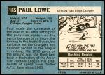 1964 Topps #165  Paul Lowe  Back Thumbnail