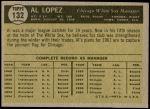 1961 Topps #132  Al Lopez  Back Thumbnail