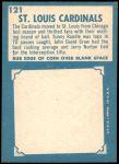 1961 Topps #121   Cardinals Team Back Thumbnail