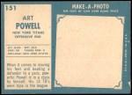 1961 Topps #151  Art Powell  Back Thumbnail