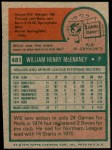 1975 Topps Mini #481  Will McEnaney  Back Thumbnail