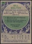 1975 Topps #77  Bill Walton  Back Thumbnail