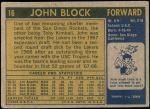 1971 Topps #16  John Block   Back Thumbnail