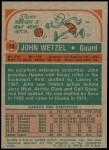 1973 Topps #72  John Wetzel  Back Thumbnail