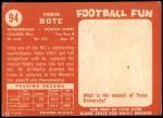 1958 Topps #94  Tobin Rote  Back Thumbnail