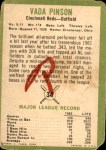 1963 Fleer #34  Vada Pinson  Back Thumbnail