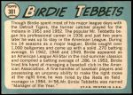 1965 Topps #301  Birdie Tebbetts  Back Thumbnail
