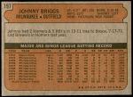 1972 Topps #197  Johnny Briggs  Back Thumbnail