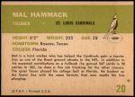 1961 Fleer #20  Mal Hammack  Back Thumbnail