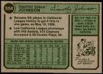 1974 Topps #554  Tim Johnson  Back Thumbnail