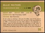 1961 Fleer #99  Ollie Matson  Back Thumbnail