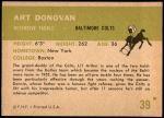 1961 Fleer #39  Art Donovan  Back Thumbnail