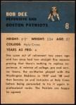 1962 Fleer #8  Bob Dee  Back Thumbnail