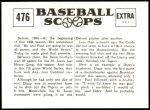 1961 Nu-Card Scoops #476   -   Dizzy Dean / Daffy Dean Win Series Back Thumbnail