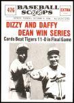 1961 Nu-Card Scoops #476   -   Dizzy Dean / Daffy Dean Win Series Front Thumbnail