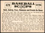 1961 Nu-Card Scoops #479   -   Carl Hubbell  Strikes Out 5 AL Stars Back Thumbnail