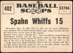 1961 Nu-Card Scoops #402   -   Warren Spahn Hurls No-Hitter, Whiffs 15 Back Thumbnail