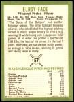 1963 Fleer #57  Roy Face  Back Thumbnail