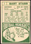 1968 Topps #1  Bart Starr  Back Thumbnail