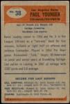 1955 Bowman #38  Tank Younger  Back Thumbnail