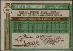 1976 Topps #261  Gary Thomasson  Back Thumbnail