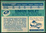 1976 O-Pee-Chee NHL #64  Simon Nolet  Back Thumbnail