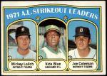1972 Topps #96   -  Vida Blue / Joe Coleman / Mickey Lolich AL Strikeout Leaders  Front Thumbnail