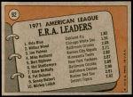 1972 Topps #92   -  Vida Blue / Jim Palmer / Wilbur Wood AL ERA Leaders  Back Thumbnail