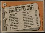 1972 Topps #96   -  Vida Blue / Joe Coleman / Mickey Lolich AL Strikeout Leaders  Back Thumbnail