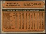 1972 Topps #39  Bob Barton  Back Thumbnail