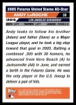 2005 Topps Update #216  Andy LaRoche  Back Thumbnail