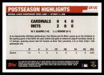 2006 Topps Update #190   -  Tom Glavine Postseason Highlights Back Thumbnail