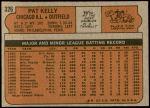 1972 Topps #326  Pat Kelly  Back Thumbnail