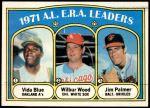 1972 Topps #92   -  Vida Blue / Jim Palmer / Wilbur Wood AL ERA Leaders  Front Thumbnail
